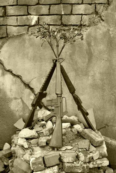 Guns Of War - Black And White Poster