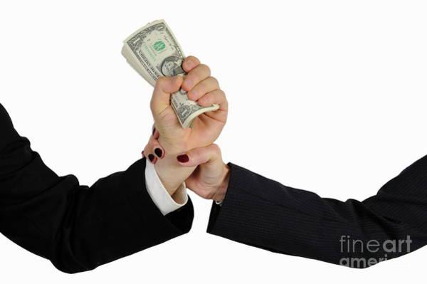 Hand Grabbing Businessman Fistful Of Money Poster