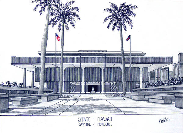 Hawaii State Capitol Poster