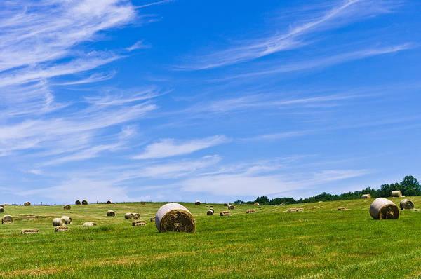Hay Bales Under Brilliant Blue Sky Poster