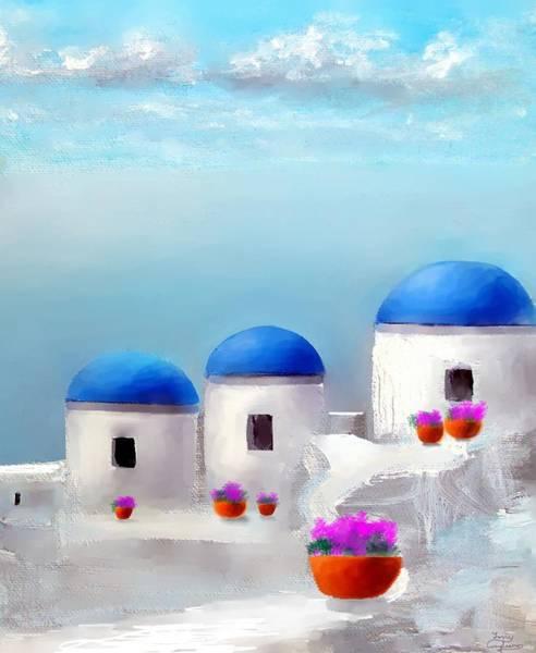Into The Heavens Santorini Poster