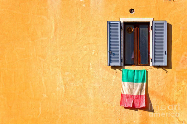 Italian Flag Window And Yellow Wall Poster
