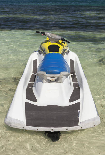 Jet Ski In Shallow Water At The Waters Poster