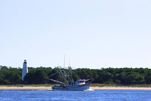 Lighthouse And Shrimp Boat Poster