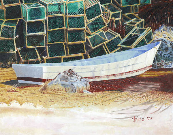 Poster featuring the painting Lobster Traps And Dory by Dominic White