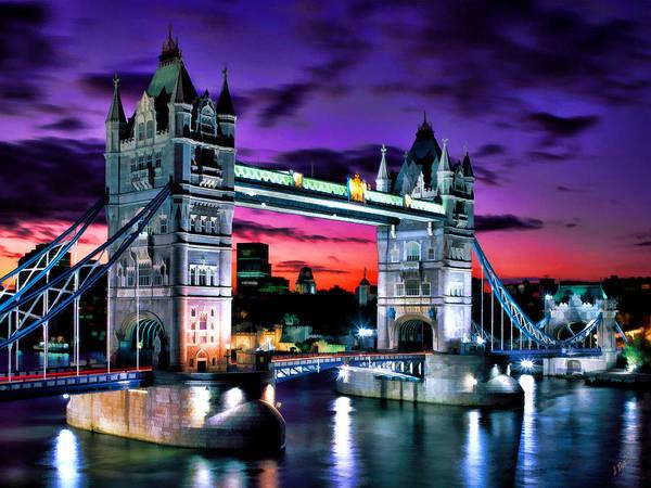 London Evening At Tower Bridge Poster