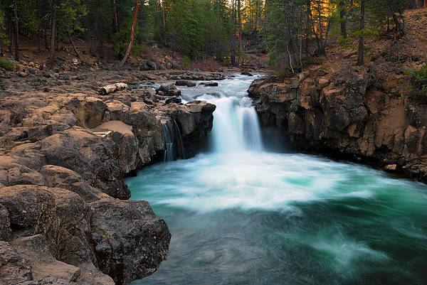 Lower Falls At Sunset Poster