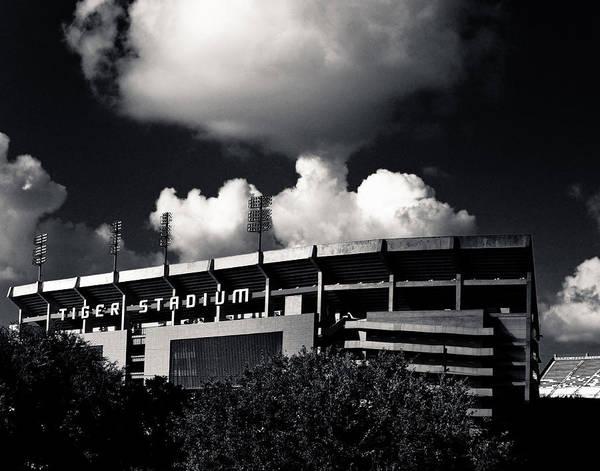 Lsu Tiger Stadium Black And White Poster