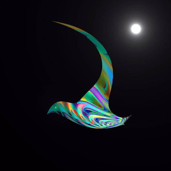 Poster featuring the digital art Midnight Flight by Visual Artist Frank Bonilla
