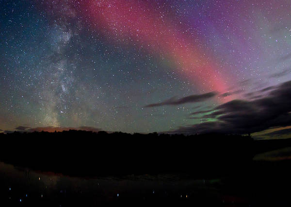 Northern Lights And The Milky Way Poster