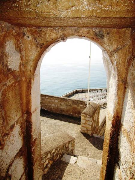 Peniscola Castle Arched Open Doorway Sea View II At The Mediterranean In Spain Poster