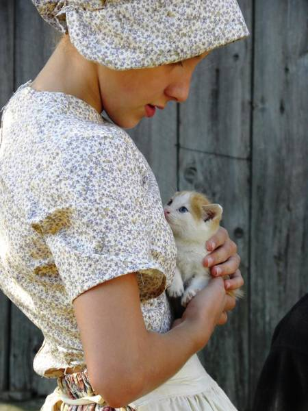 Pioneer Girl With Kitten Poster