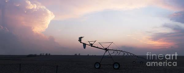 Pivot Irrigation And Sunset Poster