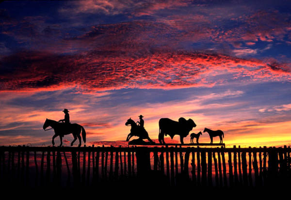 Texas Ranch Gate At Sunrise Poster