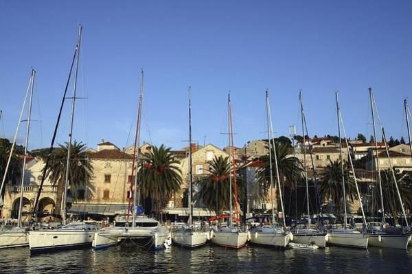 Sailboats Lined Up In Hvar Harbour Poster