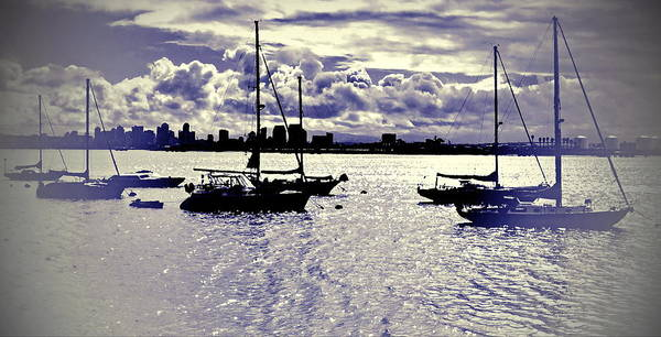 Poster featuring the digital art San Diego View From Shelter Island IIi by Visual Artist Frank Bonilla
