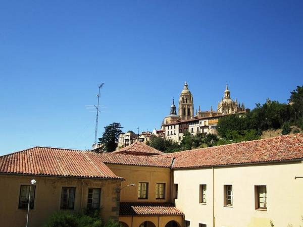 Segovia Castle Alcazar View Of Homes In The Hills Below With Blue Sky In Spain Poster