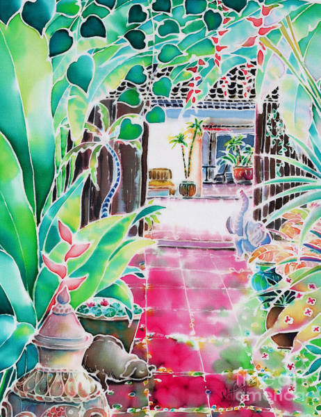 Poster featuring the painting Shade In The Patio by Hisayo Ohta