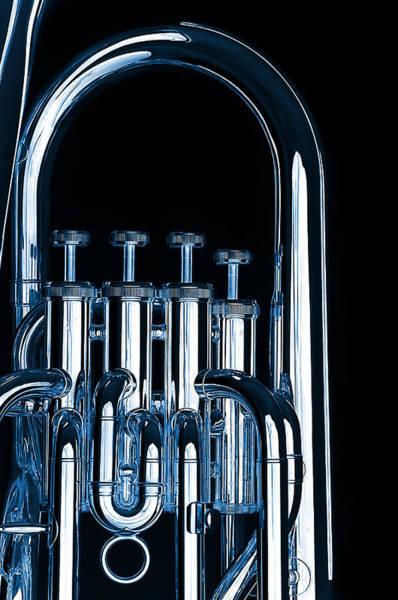 Silver Bass Tuba Euphonium On Black Poster