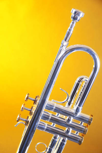 Silver Trumpet Isolated On Yellow Poster