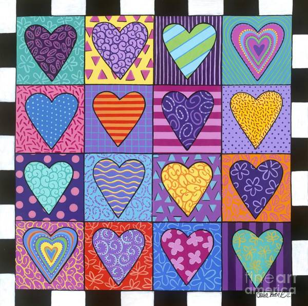 Poster featuring the painting Sixteen Hearts by Carla Bank