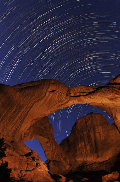 Star Trails Over Double Arch Poster