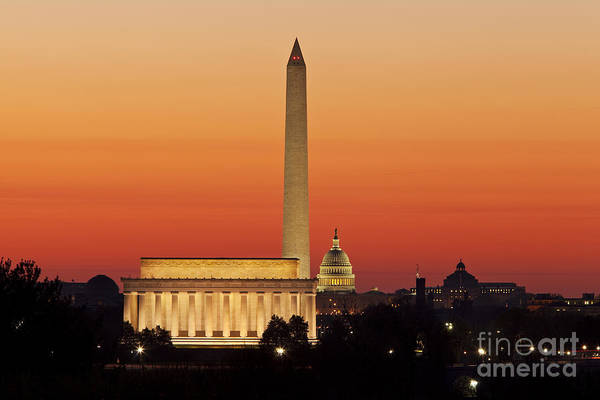 Poster featuring the photograph Sunrise Over Washington Dc by Brian Jannsen