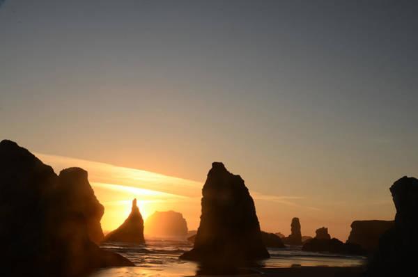 Sunset At Bandon Beach Poster