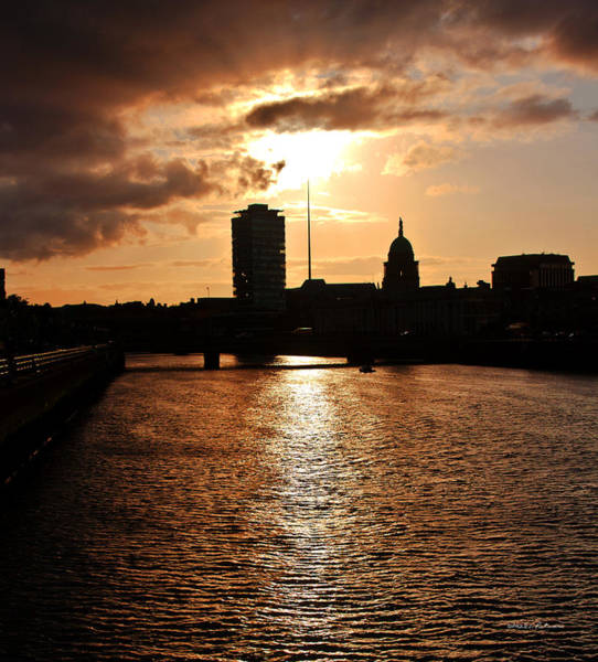 Poster featuring the photograph Sunset On The Liffey River by Edward Peterson