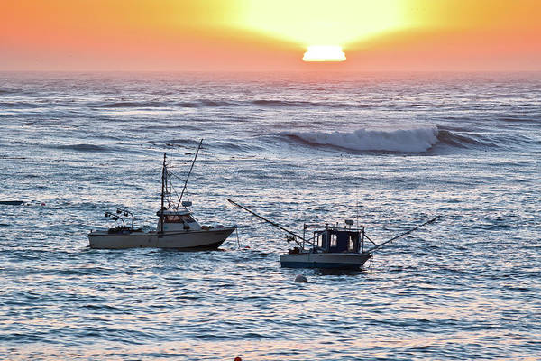Sunset With Fishing Boats Poster