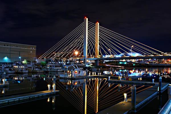 Tacoma Hwy 509 Bridge Up In Lights 1 Poster