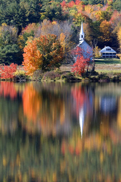 The Little White Church In Autumn Poster
