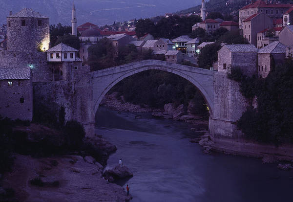 Twilight View Of A 15th-century Bridge Poster