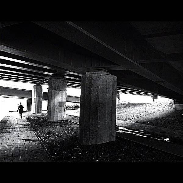Under The Bridge#bw# #walk #light Poster