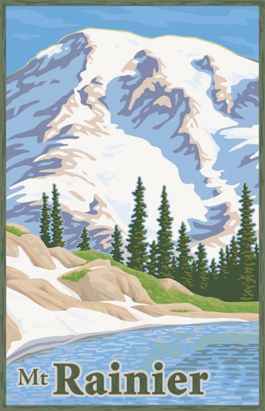 Vintage Mount Rainier Travel Poster Poster