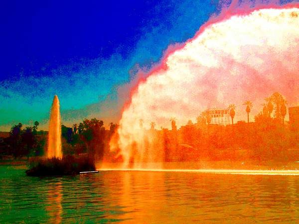 Water Fountain And Arc Of Fire Poster