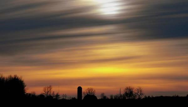 Winter Farm Sunset Poster