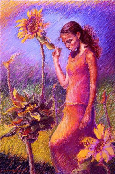 Woman Among The Sunflowers Poster