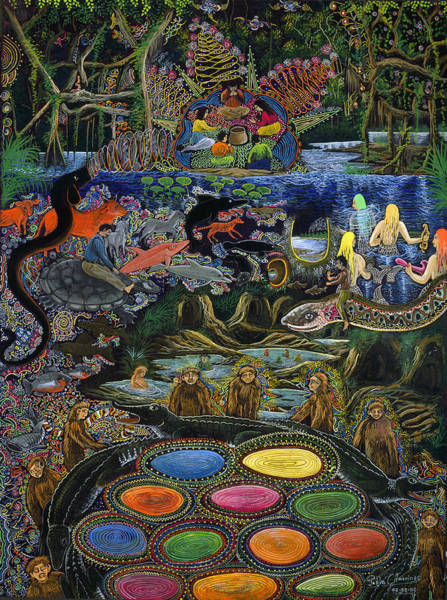 Poster featuring the painting Yacuruna Huasi by Pablo Amaringo