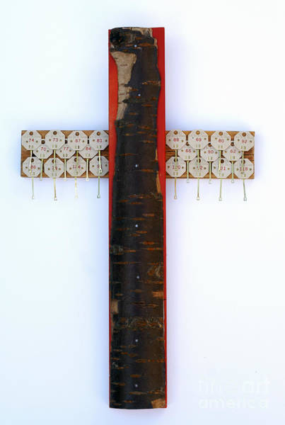 Bark Cross With Key Tags Poster