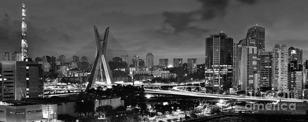 Sao Paulo Iconic Skyline - Cable-stayed Bridge - Ponte Estaiada Poster