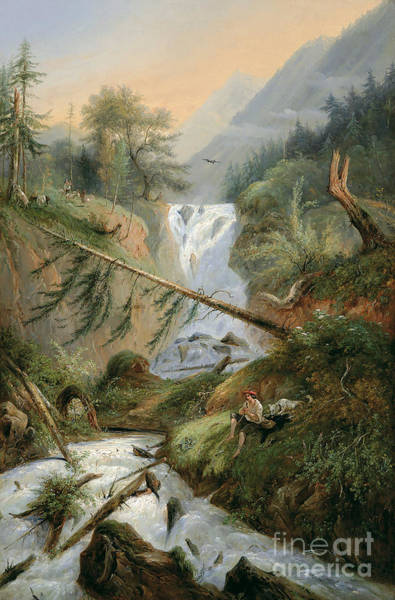 Shepherd Resting By The Waterfall Poster