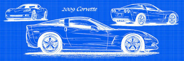 2009 C6 Corvette Blueprint Poster