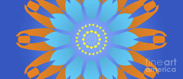 Abstract Blue, Orange And Yellow Star Poster