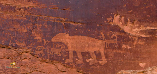 Ancient Native American Petroglyphs On A Canyon Wall Near Moab. Poster