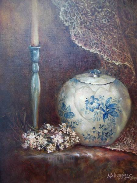 Poster featuring the painting Antique Ginger Jar by Naomi Dixon