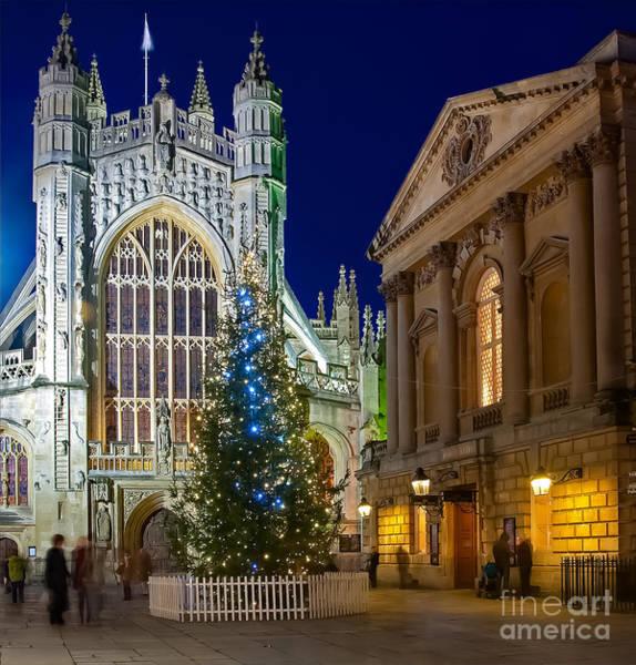 Bath Abbey At Night At Christmas Poster