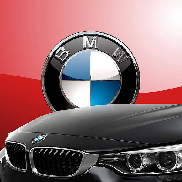 Black B M W - Front Grill Ornament And 3 D Badge On Red Poster