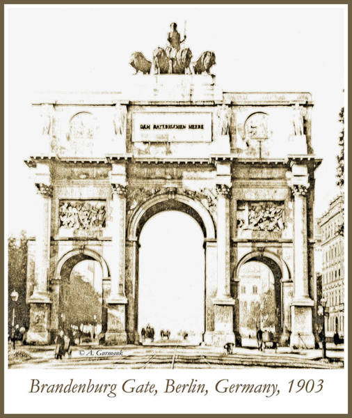 Brandenburg Gate, Berlin Germany, 1903, Vintage Image Poster