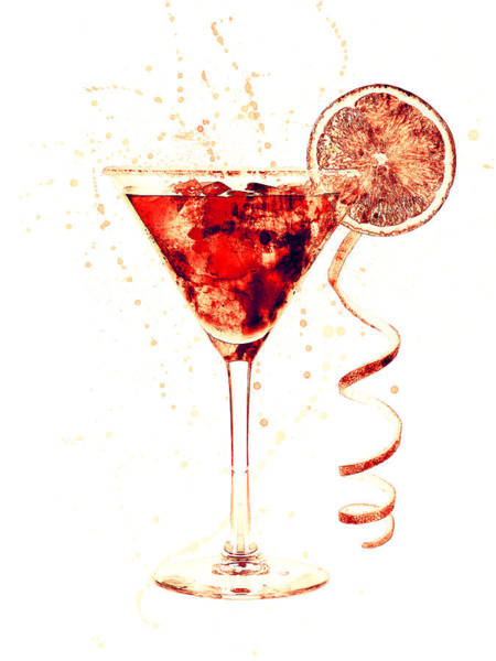 Cocktail Drinks Glass Watercolor Poster
